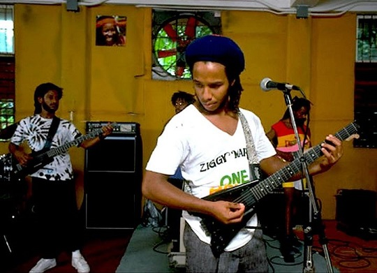 performing with Ziggy Marley late 80s